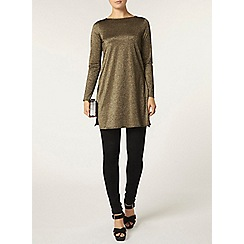 Dorothy Perkins - Dark gold lurex cut back tunic
