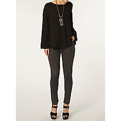 Dorothy Perkins - Black bell sleeve popcorn top