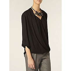 Dorothy Perkins - Tall: black wrap roll sleeve shirt