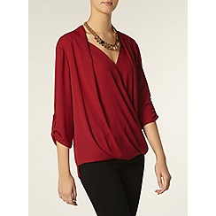 Dorothy Perkins - Tall: pink wrap roll sleeve shirt