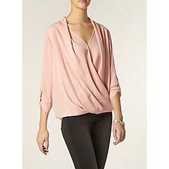 Dorothy Perkins - Tall: blush wrap roll sleeve shirt