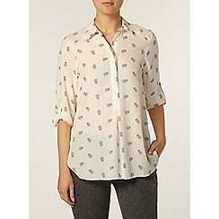 Dorothy Perkins - Ivory dotty floral roll sleeve shirt
