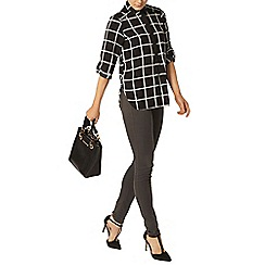 Dorothy Perkins - Black check collar roll sleeve shirt