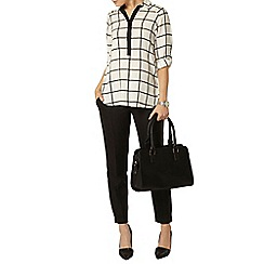 Dorothy Perkins - Ivory check collar roll sleeve shirt