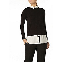 Dorothy Perkins - Black piped collar 2 in 1 shirt