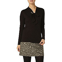 Dorothy Perkins - Black sheer detail pussybow blouse