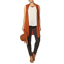 Dorothy Perkins - Rust sleeveless belted jacket
