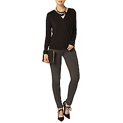 Dorothy Perkins - Black wrap jersey top