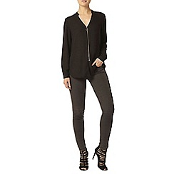 Dorothy Perkins - Black zip front long sleeve top