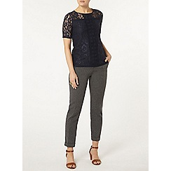 Dorothy Perkins - Navy lace trim t-shirt