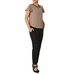Dorothy Perkins - Taupe pu trim soft t-shirt