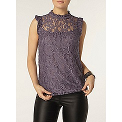 Dorothy Perkins - Grey lace victoriana top