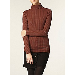 Dorothy Perkins - Tall: rust rib roll neck top