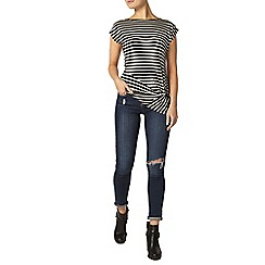 Dorothy Perkins - Black and white stripe knot top