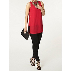 Dorothy Perkins - Raspberry eyelet tie side top