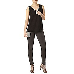 Dorothy Perkins - Black ladder detail shell top