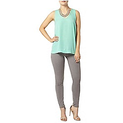 Dorothy Perkins - Green v neck shell top