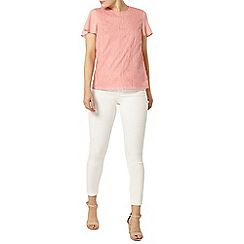 Dorothy Perkins - Apricot embroided t-shirt
