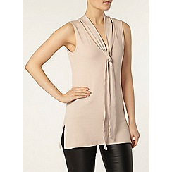Dorothy Perkins - Blush rib sleeveless pussybow top