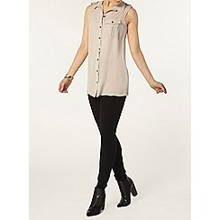 Dorothy Perkins - Stone utility sleeveless shirt