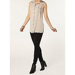 Dorothy Perkins - Stone utility sleeveless shirt