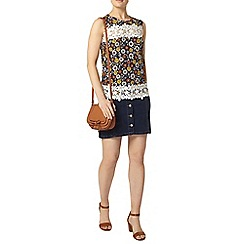 Dorothy Perkins - Black and orange print lace top