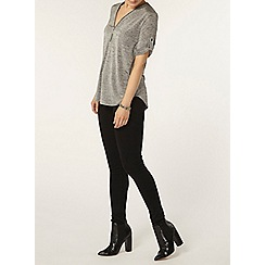 Dorothy Perkins - Grey zip front jersey top