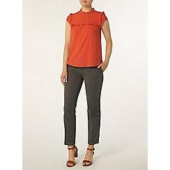 Dorothy Perkins - Coral ruffle front t-shirt