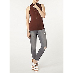 Dorothy Perkins - Chocolate ribbed high neck top