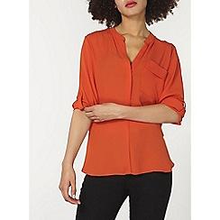 Dorothy Perkins - Rust non collar 1 pocket shirt