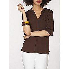 Dorothy Perkins - Chocolate non collar 1 pocket shirt