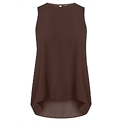 Dorothy Perkins - Chocolate dip back shell top
