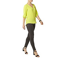 Dorothy Perkins - Lime zip front blouse