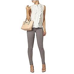 Dorothy Perkins - Ivory ruffle front sleeveless blouse