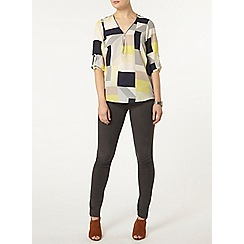 Dorothy Perkins - Lime and navy square zip shirt