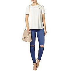 Dorothy Perkins - Ivory bib frill t-shirt