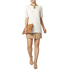 Dorothy Perkins - Ivory tie sleeve long line t-shirt