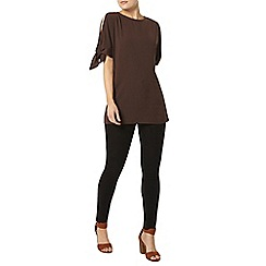 Dorothy Perkins - Chocolate tie sleeve top