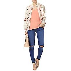 Dorothy Perkins - Champagne floral bomber jacket