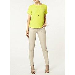 Dorothy Perkins - Lime roll tab t-shirt