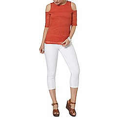 Dorothy Perkins - Red lace cold shoulder top
