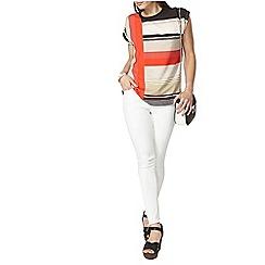 Dorothy Perkins - Red stripe rib neck t-shirt