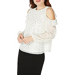 Dorothy Perkins - Ivory foil cold shoulder top