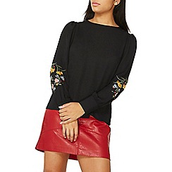 Dorothy Perkins - Black embroidered blouson sleeve top