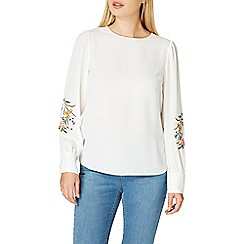 Dorothy Perkins - Ivory embroidered blouson top