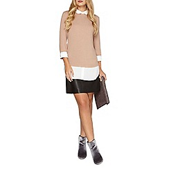 Dorothy Perkins - Caramel stab stitch 2in1 top