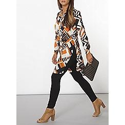 Dorothy Perkins - Orange geo split shirt