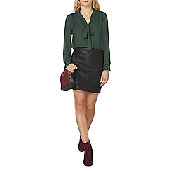Dorothy Perkins - Green tipped bow blouse