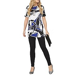 Dorothy Perkins - Black and cobalt geo tunic