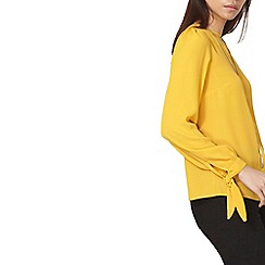Dorothy Perkins - Ocher long sleeve tie cuff top